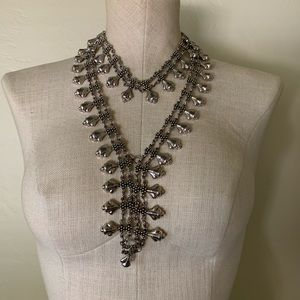Silver statement necklace duo